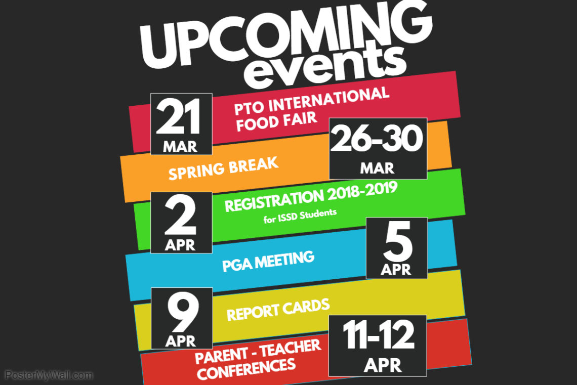 Upcoming Events March-April 2018